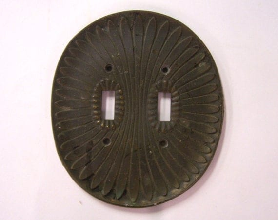 Architectural salvage - vintage metal switch plate cover - double toggle
