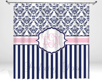 Damask Stripe Navy and Pink Personalized Custom Shower Curtain Monogram with Name or Initials perfect for any bathroom