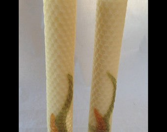 """100% Pure Beeswax-Hand Rolled Decorated Honeycomb Candles-8""""x1"""" PAIR"""