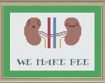 We make pee: nerdy kidney cross-stitch pattern