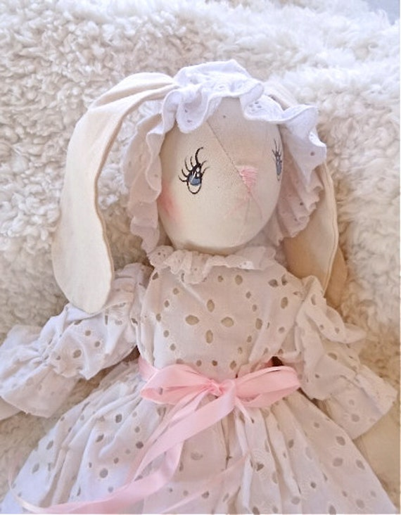 "15"" hand made bunny doll, white dress"