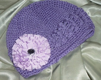 Chemo Purple Crocheted Hat with Lavendar and White Polka Dot Flower, Girls Purple Crochet Chemo Hat