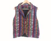 80s vintage ikat vest women large eighties