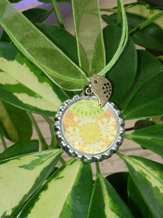 Sunny Garden Bottle Cap Necklace