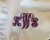 Engraved & French Font /Personalized w/ Bride's New Last Name and New Initials - Soft White Terry Bridal Robe