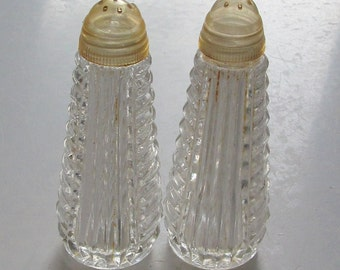 Clear Glass Salt and Pepper Shakers, Lids for Both