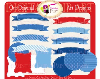 Nautical navy blue Digital Labels polka dots diagonal stripes backgrounds Stitched Banner Circle Ribbon Personal & Commercial Use pf00029-3