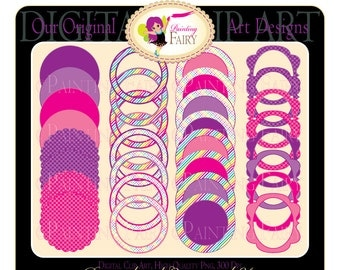 32 Digital elements Rainbow labels Scalloped clipart frames Fun scrapbooking embellishments DIY images Personal & Commercial Use pf00030-6