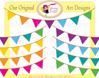 Colorful clipart Rainbow Bunting Party Clipart vivid colors Celebration elements digital pennant images Personal & Commercial use pf00030-19