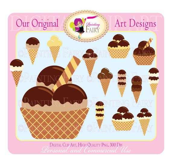 Sweet Ice Cream Digital Clipart Chocholate Vanilla Peanut coconut Coffe colors clip art designer element Personal & Commercial Use pf00031-1