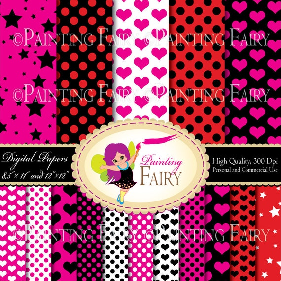 """Digital Paper Pack Polka Dots Pink Red Black backgrounds 16 papers in two sizes 8.5"""" x 11"""" and 12"""" x 12"""" Personal & Commercial Use pf00035-2"""