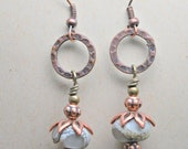 Blossoms of Earth Antique Copper and lampwork beads Earrings