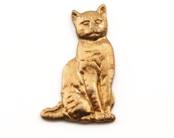 68 Sitting Cat Charms, Vintage Raw Brass Cat Stamping, Scrapbooking Cat, Destash Charm For Scrapbooking, Jewelry Craft, Discount Charms
