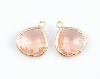 2pcs - Light Peach Color and Gold Framed Glass Pendent / light peach / peach / champagne / 16k gold plated / glass / 15 x 18mm / SLPG007-P