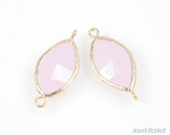 2pcs - Ice Pink Color and Gold Framed Glass Connector / ice pink / pink / 16k gold plated / glass / connector / 10mm x 22mm / SPKG017-C