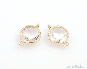 2pcs - Crystal Color and Gold Framed Round Connector / crystal / clear / 16k gold plated / glass / cutted / 9 x 14mm / SCRG008-C
