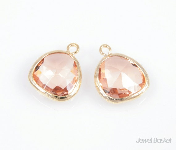 MARKDOWN - Light Peach Color and Gold Framed Glass Pendant - 2pcs Peach Color Pendant, Necklace Jewelry Pendant / 13x16mm / SLPG001-P
