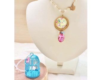 Swallow & Birdcage Layering Necklaces - romantic jewelry - glass domed pendant, blue bird cage, swarovski gem and brass dove