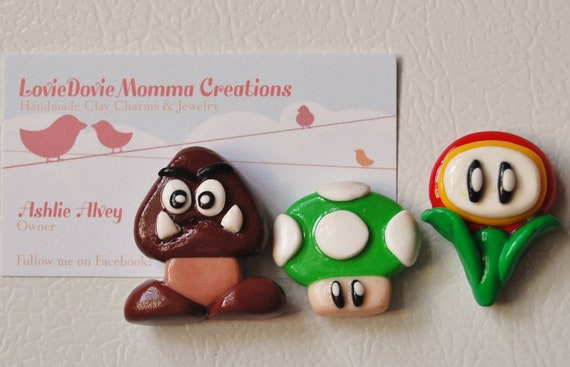 Polymer Mario Inspired Magnets, Set of 3