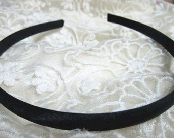 100pcs Black  plastic Headband With Cloth Covered 7mm Wide