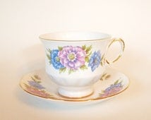 Queen Anne Bone China Teacup with Blue and Pink Flowers - England