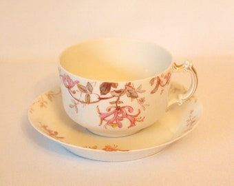 Antique Haviland & Co. Limoges Teacup with Pink Flowers - France - Circa 1888-1896