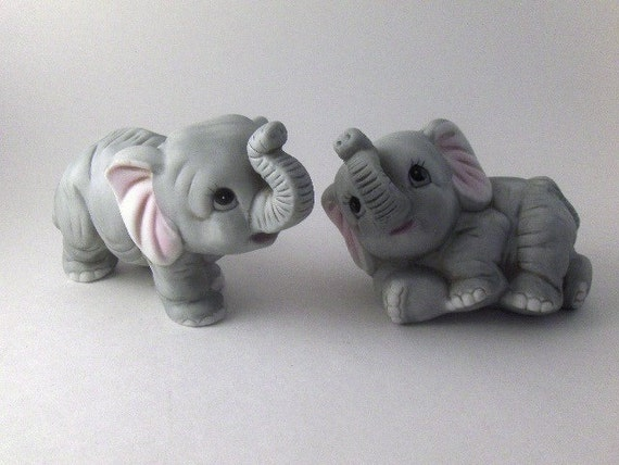 Vintage Porcelain Baby Elephant Figurines By Theoldtimers