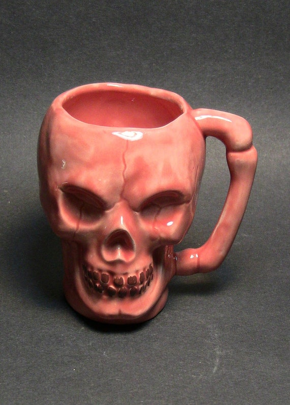 SKULL coffee mug, ceramic salmon-colored glaze w brown scary teeth, food-safe decorative planter or Day of the Dead.