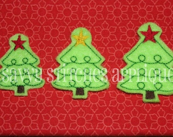 Curly Christmas Tree Feltie Embroidery Design