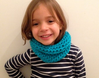 Hand Knit Girl Blue Neck Warmer, Cowl, FREE SHIPPING in US