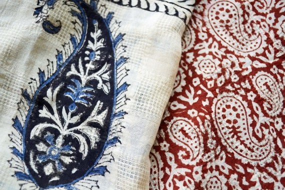 Extra Large Red, Cream and Blue Paisley Scarf - Hand block printed, Natural Vegetable Dyes, 100% Cotton Oversized Scarf, Pareo, Shawl
