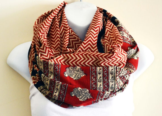 Red and Black Chevron Stripes, Tribal Infinity Scarf - Hand block printed, Natural Vegetable Dyes, 100% Cotton Scarf, eternity loop tube