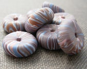Polymer clay rondelle beads subtle blues and browns , set of 8