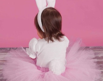 Little Easter Bunny Tutu Set - SEWN Pink Tutu, Fluffy Removable Tail and Soft Bunny Ears