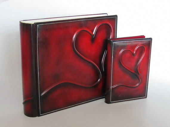 Leather photo album Deep red classic style and DVD case set