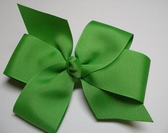 Lime Apple Kiwi GREEN Hair Bow Simple Traditional Basic Classic Style Toddler Girl