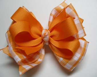 TENNESSEE Orange Plaid Boutique Hair Bow Toddler to Big Girl Stacked Layered