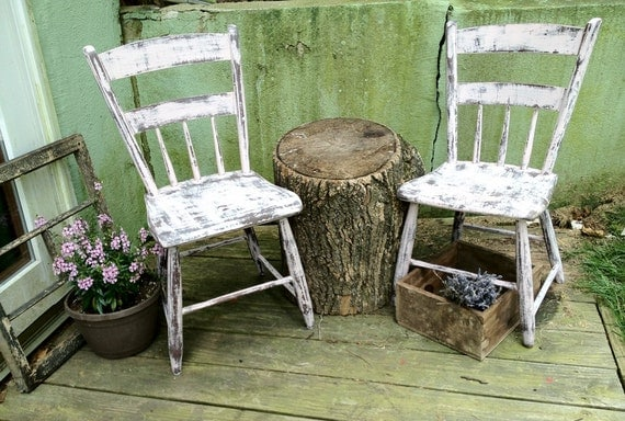 Primitive Chairs Wood Farmhouse - Hand Made - Set of Two