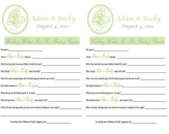 Wedding Wishes- Mad Lib or Keepsake Cards (pdf file)