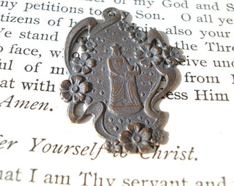 St. Anne and the Child Mary Medal - Bronze or Sterling Silver - St. Anne Medal - Religious Medal - Catholic Medal - Saint Medal  (SF03-996)
