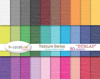 Instant Download BURLAP Texture Rainbow Digital Papers - Scrapbooking, Background, Invitation Supplies. Commercial use ok.