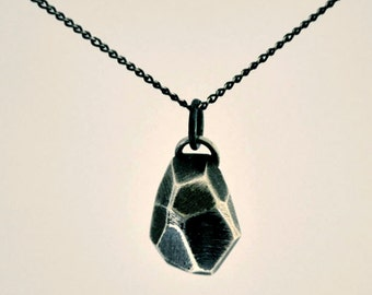 Silver Necklace, Solid Silver Geometric Gemstone Necklace with Blackened Patina