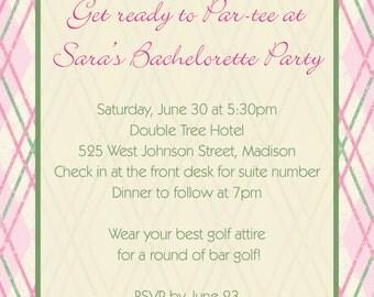 Bar Golf Bachelorette Party Invitation