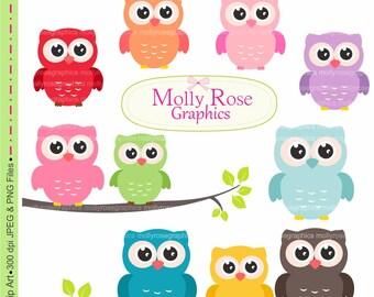 SALE 10 rainbow owls clip art,colorful owls clip art ,owl, tag, label, Scrapbooking  M.19
