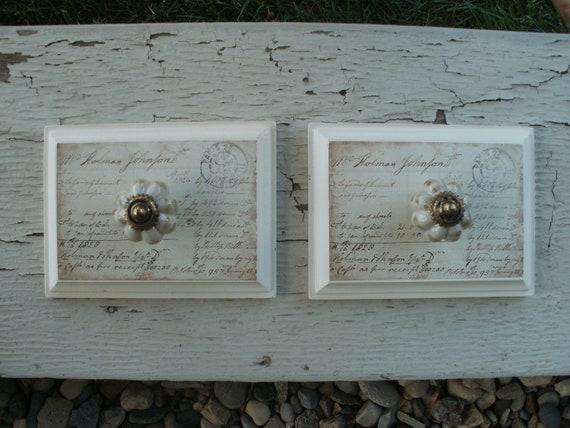 Wooden Wall Decor with Vintage Porcelain Knobs