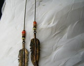 Upcycled Country Western Long Feather Dangle Earrings