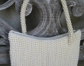 La Regale Fully Beaded Pearl Handbag Wedding Evening Purse Clutch