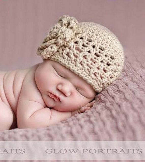 Crochet Stitches Baby Hats : Crochet Hat PATTERN Baby Girl Crochet Hat V Stitch Flower Flapper ...
