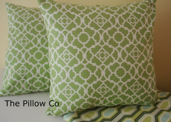 Items similar to 2 - Green 20 X 20 Throw Pillows Pillow Covers Fabric front & back