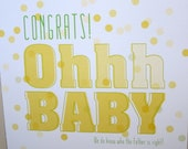 """Funny Pregnancy Card, New Baby Card - """"Ohhh Baby"""""""